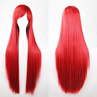 EllenaWomens/Ladies 100cm Red Color Long STRAIGHT Cosplay/Costume/Anime/Party/Bangs Full Sexy Wig (100cm,Straight,Red)