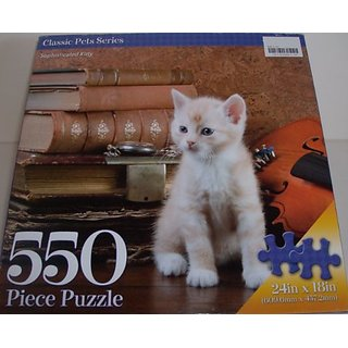 Sophisticated Kitty 550 piece Puzzle of Books and Kitten