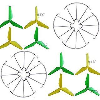 BTG 3-blade 3-leaf Upgrade Propellers Blades Yellow & Green with Prop Guards for Syma X5 X5A X5C X5S X5SC X5W X5SW JJRC