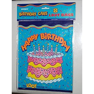 Birthday Cake Party Favor Loot Bags - Pack of 8