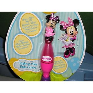disney minnie mouse light up pen & stand glows while writing new box
