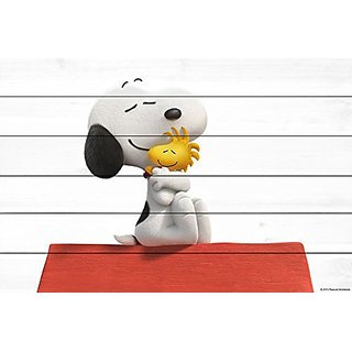 Peanuts MH-PNTS-09M-WW-18 Best Friends Painting Print On White Wood, Multicolor, 18