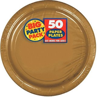 Amscan AMI 650013.19 Amscan Gold Big Party Pack Dinner Plates (50 Count), 1, gold