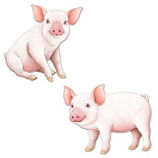 Beistle Pig Cutouts, 13.75 inch and 15.5 Inch, Multicolor
