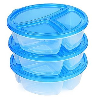 (3 Pack) 3 Compartment Microwavable Food Container with Lid Reusable Divided Plate, Bento Box, Microwave Safe Sectional