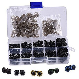BA-SAFE Doll, Puppet Craft Black Plastic Safety Eyes with 7 Pair Colored Plastic Eyes,100pcs 6 - 12 mm