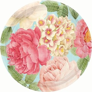 Amscan Disposable Round Paper Plate In Blissful Blooms Print (18 Piece), 10-1 2