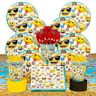 Emoji Deluxe Birthday Party Tableware Kit (Serves 8)