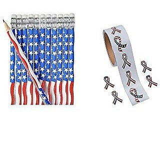 PATRIOTIC Party Supplies - 72 US Flag PENCILS & 200 USA Stickers - FAVORS - Parades - Classroom - AMERICAN Red White & B