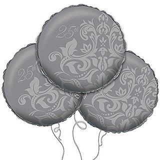 Silver 25th Anniversary Mylar Balloon 18