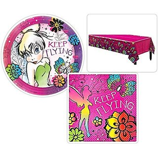 Tinker Bell Birthday Party Supplies Set Including Plates Napkins and Table Cover for 16