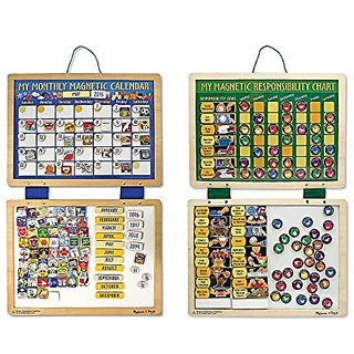Melissa & Doug Kids Magnetic Calendar and Responsibility Chart Set With 120+ Magnets to Track Schedules, Tasks, and Beha
