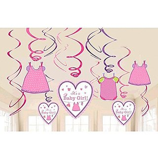 Shower with Love Girl - Cute Pink Baby Girl Baby Shower Party Foil Hanging Swirl Decorations Spiral Ornaments (12 PCS)