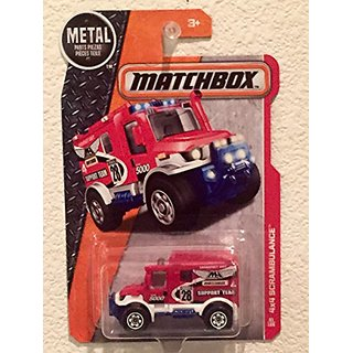 Matchbox MBX Heroic Rescue 4X4 RED Scrambulance 1:64 Scale Collectible Die Cast Metal Toy Car Model #73-120