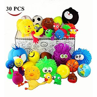 Jalousie 30 Pieces Stress Ball and Squeeze Toys Value Assortment-Stress Relax Toys (30 Pcs Pack).