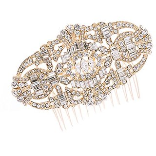 Art Deco Gold Crystal Rhinestone Bridal Wedding Hair Comb Hairpins Jewelry Accessories 5186 (Gold)