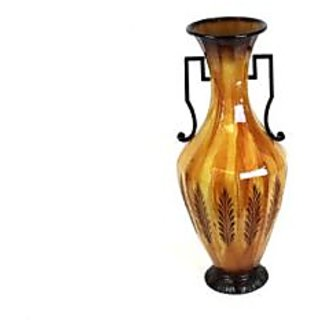 UTC 62014 Light Brown Metal Vase with Antique Accent