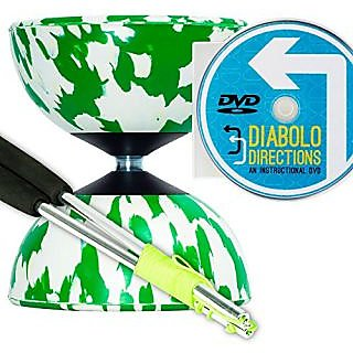 Mr B Harlequin Diabolo, Metal Diablo Sticks & Diabolo Directions Instructional DVD! (Green & White)