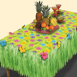 Amscan Summer Flower Transform-a-Table Decorating Kit Hawaiian Beach Luau Decoration (2 Piece), Green, 35 x 9