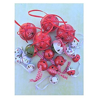 19 Gorgeously Painted Red Bells, Snowflake Theme in Color and Size Combinations - Set of 19