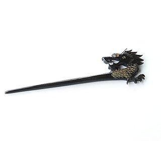 Marycrafts Black Buffalo Horn Dragon Carved Hairstick, Hair Stick, Hairpick Hair Accessories, Hair Jewelry Handmade 7