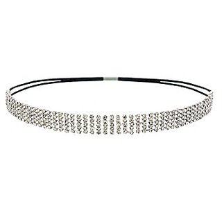 Silver Crystal Rhinestone Bridal Elastic Headband, Wedding Accessories, Bridal Headpiece