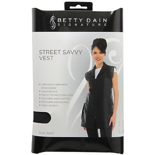 Zyrca 39 XL Street Savvy Stylist Vest, Lightweight Leatherette and Polyester, Rolled Collar, Removable Pockets, Adjustab