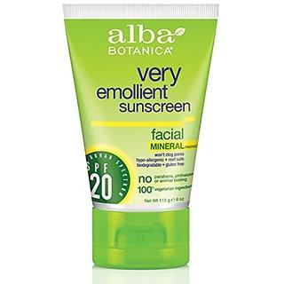 Alba Botanica Face Mineral Sunblock SPF 20-4 oz