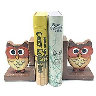 Bali Wooden Wide Eyed Owl Bookends Pair - Home Decoration Nice Book Ends