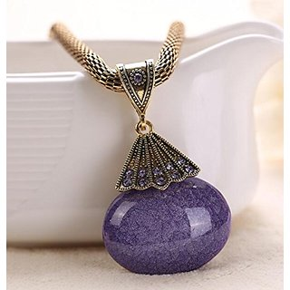 A&C Fashion and Charm Purple Peacock Bohemia Necklace for Women. Indian Weave Necklace for Girl.