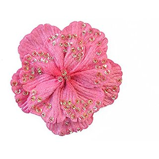 PLH Bows Petal Flower Sequin Clip for Toddlers, Girls (FUCHSIA)