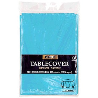 Amscan Disposable Diameter Round Plastic Table Cover In Fits 7 Round Tables, 84