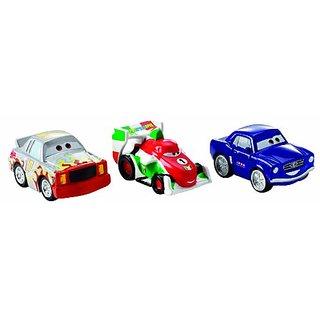Cars Micro Drifters Brent Mustangburger, Darrell Cartrip and Francesco Vehicle, 3-Pack