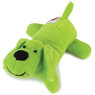 Zanies Plush Neon Lil Yelpers Dog Toy, Glowing Green
