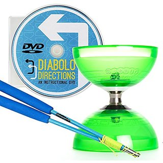 Green Cyclone Quartz 2 Triple Bearing Diabolo & Blue Superglass Diablo Sticks Set with Diabolo Directions DVD!