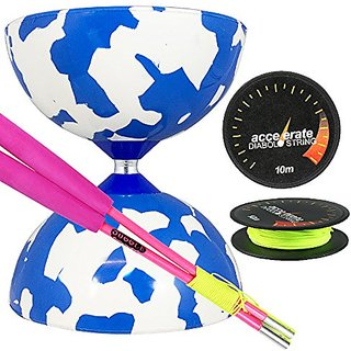 Jester Medium Diabolo White-Blue with Pink Superglass Diabolo Sticks, & Accelerate Diabolo String