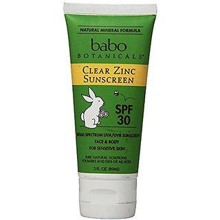 Babo Botanicals 30 SPF Clear Zinc Sunscreen, 3 Ounce (Pack of 2)