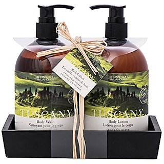 Upper Canada Soap Brompton and Langley Exotic Retreats Hand-Body Wash and Lotion Caddy Gift Set, Tuscany