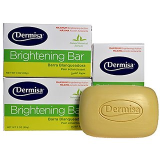 Dermisa Brightening Bar Soap, Natural Botanical Extracts, (3-Pack, each of 3 oz)