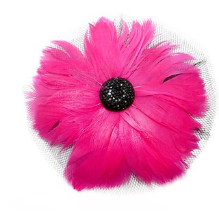 EK Success Brands Laliberi Pin and Clip Flower, Feathers and Netting, Pink