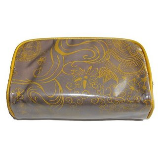 Bare Escentuals Grey Zippered Cosmetic Bag with Yellow Pattern Detail