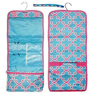 Large Turquoise Pink Quatrefoil Hanging Toiletries Cosmetic Makeup Travel Bag by TravelNut Unique Best Her BFF Girlfrien