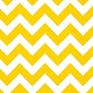 Amscan Disposable Beverage Paper Napkins In Sunshine Chevron Print, 5 x 5