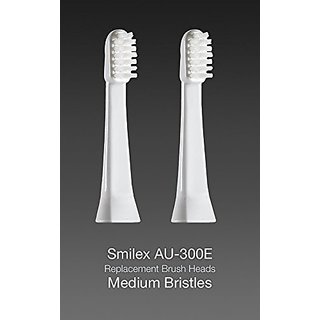 Smilex AU-300E Ultrasonic Toothbrush Replacement Brush Heads - Medium Bristles Package of 2