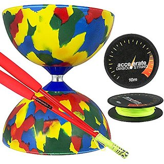 Jester Medium Diabolo 4 Colour with Red Superglass Diabolo Sticks, & Accelerate Diabolo String