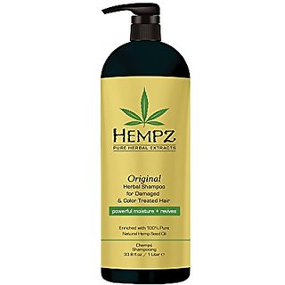 Hempz Original Herbal Shampoo for Damaged and Color Treated Hair, Pearl Yellow, Floral/Banana, 33.8 Fluid Ounce (1 Liter