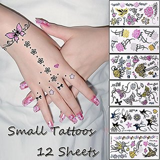 12 Sheets Temporary Tattoo Body Art Stickers Removable Waterproof Small Tattoo for ear,leg,hand,neck,arm,feet - Patten T