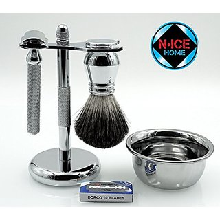 Wet Shave Kit (Deluxe)- Shaving Kit Includes Pure Badger Shaving Brush, Chrome Stand & Double Edge Razor; Deluxe Shave S