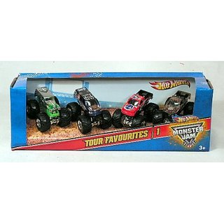 Monster Jam Tour Favorites - 1, Set of 4 Collectible Trucks: Grave Digger, Bounty Hunter, Nitro Circus, Airborne Ranger