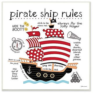 The Kids Room By Stupell Pirate Ship Rules Wall Plaque